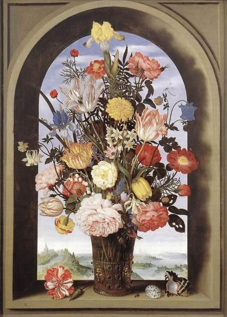 """אמברוזיוס בוסארט, """"אגרטל פרחים"""", 1618 בקירוב, שמן על עץ, 64X46 ס""""מ, האג, מאוריצהאוס."""